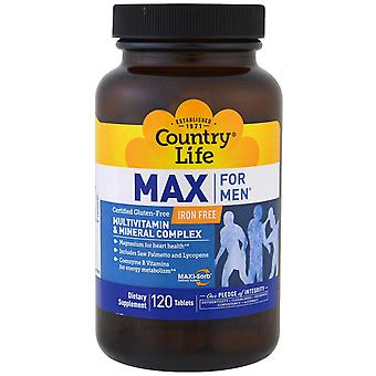Country Life, Max for Men, Multivitamin & Mineral Complex, Iron-Free, 120 Tablet