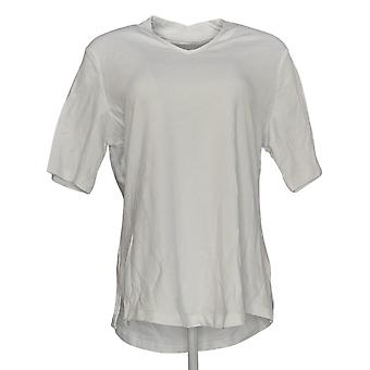 Isaac Mizrahi Live! Women's Top Essential Elbow Sleeve V-Neck White A306543