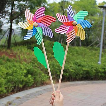 Beautiful High-quality 24cm Wood Garden Yard Party Windmill Wind Spinner