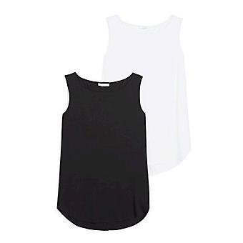 Marke - Tägliche Ritual Frauen's Jersey Bateau-Neck Tank Top, schwarz/weiß, klein