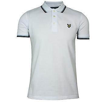 Lyle & scott men's white and burgundy tipped polo shirt