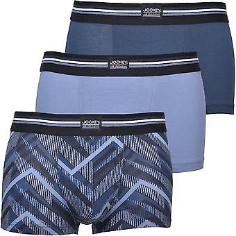 Jockey 3-Pack Arrow Stripes & Plain Cotton Stretch Boxer Trunks, Blauw
