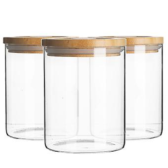 6 Piece Glass Jar With Wooden Lid Storage Container Set - Round Scandinavian Style Airtight Canister - 750ml