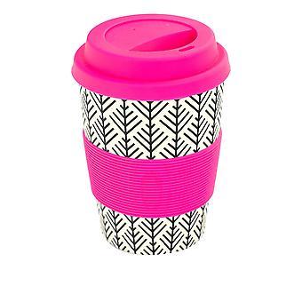 Rink Beba Bambu Copo de Café Reutilizável com Tampa de Silicone e Manga - 350ml - Folha Asteca - Rosa