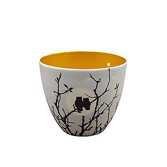 Light-Glow Small Golden Circle Candle Holder, Love Owls