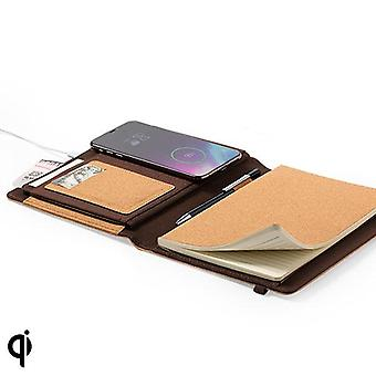 Notepad with wireless Qi charger brown