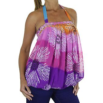 Women's Floral Summer Halter Neck Ladies Loose Pleated Everyday Casual Beach Sleeveless Elasticated Stretch Chiffon Blouse Tank Top 8-14