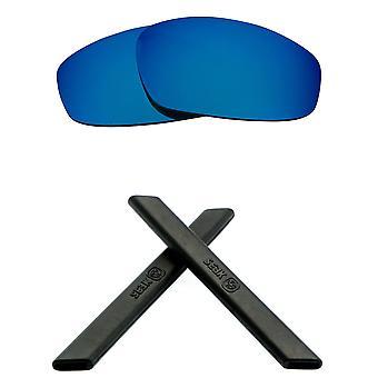 Replacement Lenses Kit for Oakley Split Jacket Blue Mirror Black Anti-Scratch Anti-Glare UV400 by SeekOptics