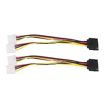 2x SATA 15-Pin to Dual 4 Pin Molex Power Cable Serial ATA Lead PC CPU