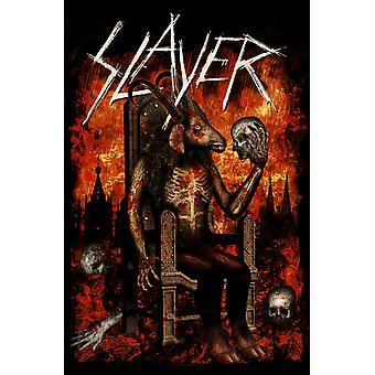 Slayer affisch Devil på Throne band logo nya officiella textil flagga 70cm x 106cm