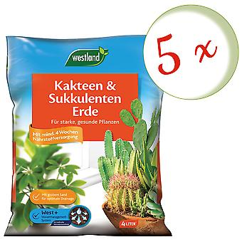 Sparset: 5 x WESTLAND® cacti and succulentearth earth, 4 liters