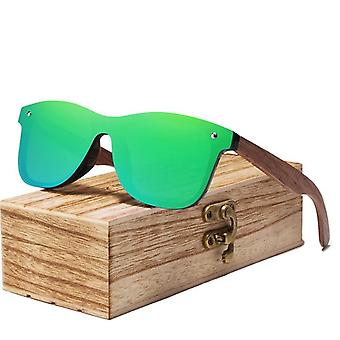 Polarized Walnut Wood Mirror Lens Sunglasses/women