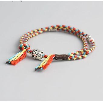 Tibetische buddhistische Glück gewebt Amulett Schnur Armband