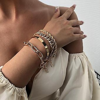 Armbånd i sæt á 4 stk guld boheme smykker hip hop kæder