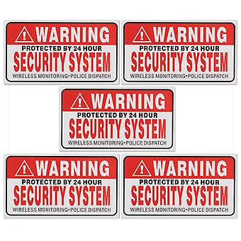 5pcs/set Warning Protected By 24 Hour Security System Stickers