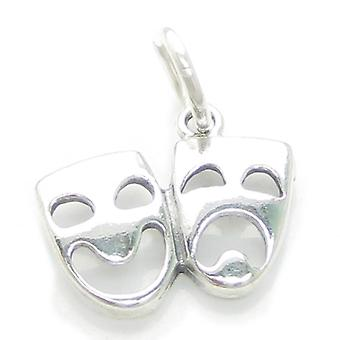 Theatre Masks Sterling Silver Charm .925 X 1 Am Dram Theater Mask Charms - 3201