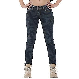 Low Rise Camouflage Jeans Skinny Fit - Blue