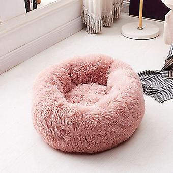 Bed Round Soft, Warm, Long Plush, Pet Bed For Small Cats, Nest, Autumn, Winter,