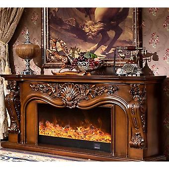 Wooden Mantel With Electric Fireplace, Burner Led Optical Flame Decoration