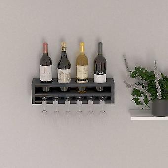 Rack de garrafa de antracito de madeira poseidon, L48xP13.8xA12 cm