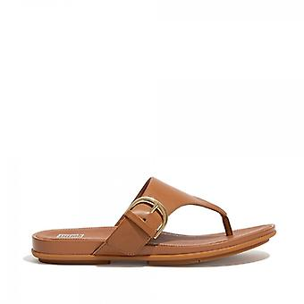 FitFlop Graccie Ladies Leather Toe Post Sandals Light Tan