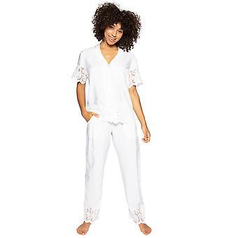 Cyberjammies Leah 4836 Dames's Wit Geborduurd Pyjama Broek