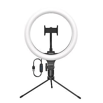 Selfie-rengasvalo jalustalla - 10 tuumaa - LED-videosoittovalo, USB-valokuvaus täytä valosarja letkulla + plipillä matkapuhelimeen + työpöydän negatiivinen