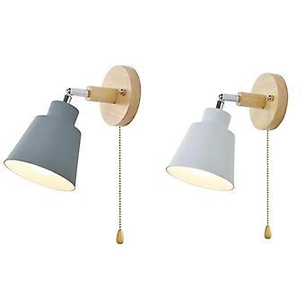 Nordic Holz Wandlampe Bett Seite Wandleuchte Wandleuchte für Schlafzimmer Korridor mit Reißverschlussschalter frei drehbar