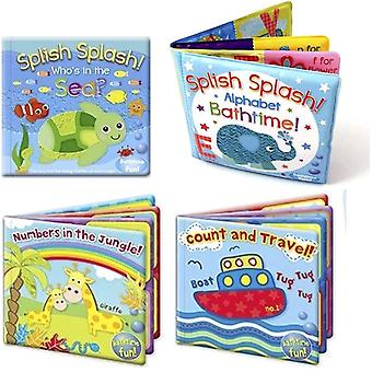 2 X Set of 4 Baby Bath Books | First Words ABC Letters & Numbers | Plastic Coated