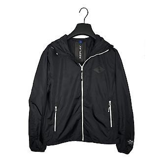 Replay Jeans Replay Mens Lightweight Hooded Jacket Black