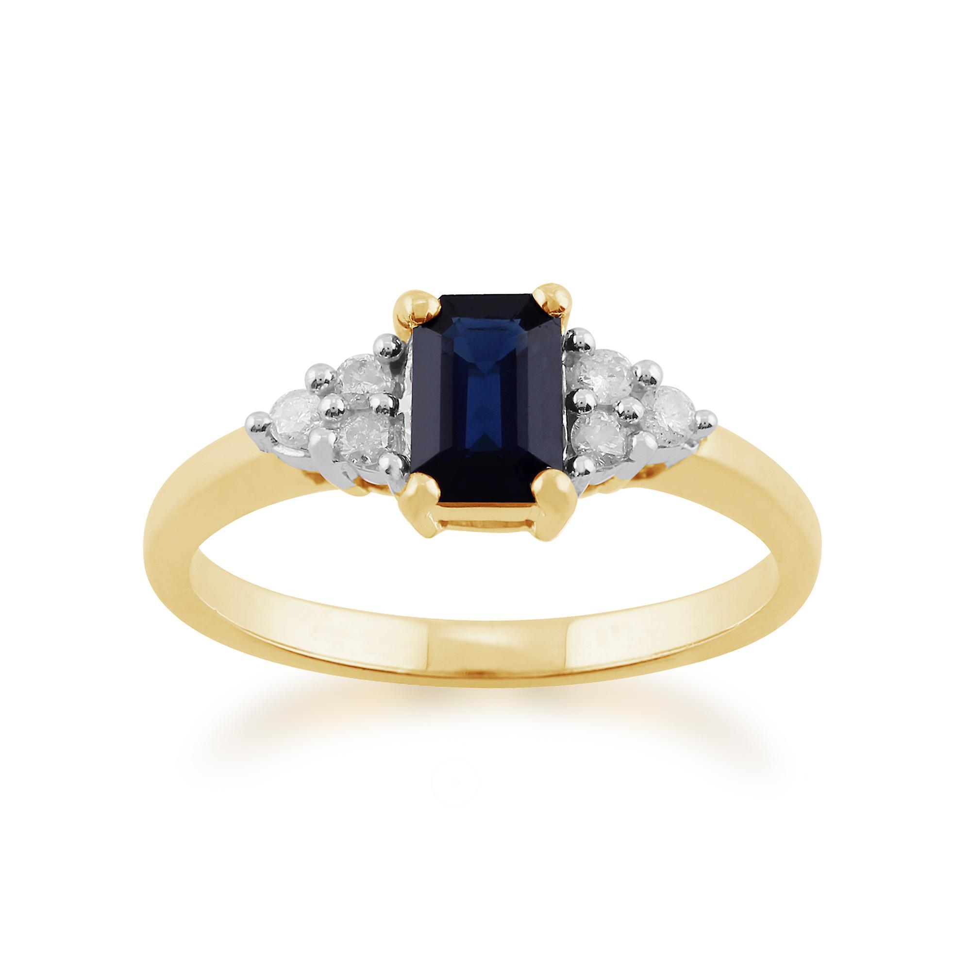 Gemondo 9ct Yellow Gold 0.88ct Octagon Blue Sapphire & Diamond Ring