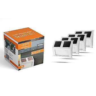 LED LOVERS 4er Set Außenleuchte LED mit Dämmerungssensor, 4 Solarbetriebene Wandleuchten mit Sensor, Außenlampen aus Edelstahl für Garten, Terrasse, Wand, kabellos, 14 x 9.5 cm