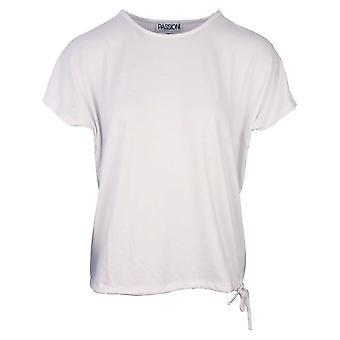 Passioni White Loose Tie Bottom Blouse