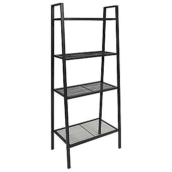 vidaXL Ladder Bookshelf 4 Levels Metal Black
