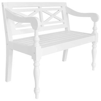 vidaXL Batavia bench 98 cm mahogany solid wood white
