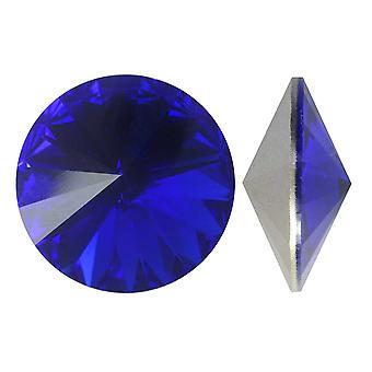 """קריסטל סברובסקי, #1122 ריבולי אבנים מהודרות 12 מ""""מ, 4 חלקים, כחול מלכותי סוכל"""