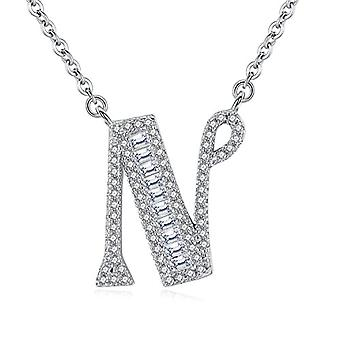 Gemshadow initial Sterling 925 silver necklace with zircon personalized letter gifts for women girls, cod. AQEN000055