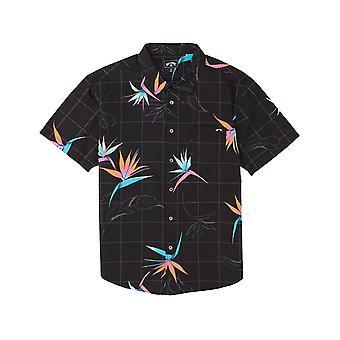 Billabong Sundays Floral Short Sleeve Shirt in Black/Orange