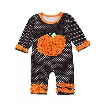 Halloween Dot Long Sleeve Ruffles Jumpsuit Outfit Clothes