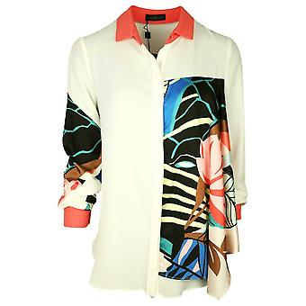 Arggido Cream Bold Floral Inspired Print Long Sleeve Shirt