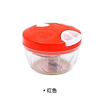 Manual Automatic Cooker Multi Function Meat Grinder Vegetable Cutter Mesh Garlic Press(red)