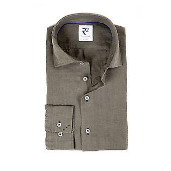 R2 Cut Away Collar Long Sleeved Linen Shirt Dark Green