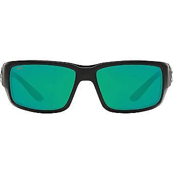 Costa Del Mar Mens Fantail 580P Polarized Rectangular Sunglasses - Blackout/Copper Green Mirrored - 59 mm