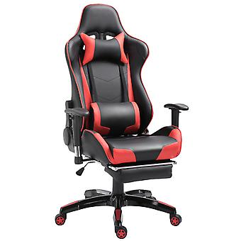 HOMCOM High-Back Gaming Chair Swivel Home Office Computer Racing Gamer Desk Chair Faux Leather with Footrest, Wheels, Black Red