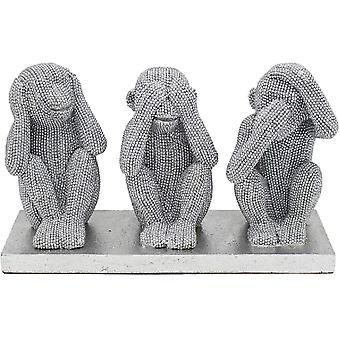Silver Art 3 Wise Monkeys By Leonardo