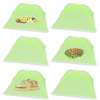 6 Pack Pop-up Picnic Food Tent Covers, Foldable Mesh Screen Food Covers(Green)