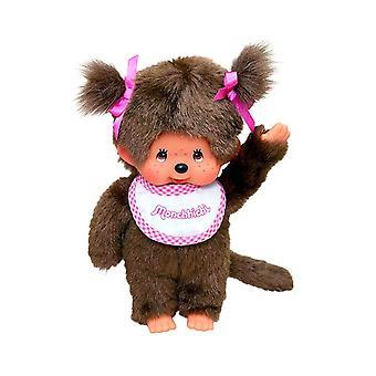 Monchhichi Girl with Pink Bib Plush Toy