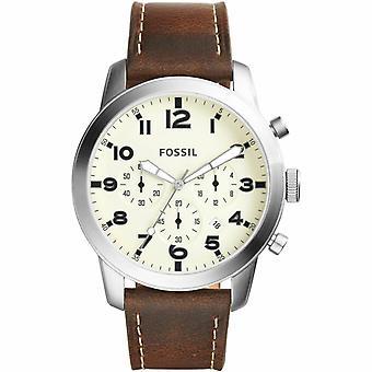 Fóssil FS5146 Piloto 54 Cream Dial Chronograph Leather Men's Watch Garantido