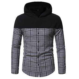 Men's Plaid Hooded Long Sleeve Casual Loose Fit Shirt