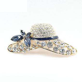 Κομψή καρφίτσα καρφίτσα καπέλο σχήμα νυφικό corsage ζωγραφισμένο Rhinestone κυρίες καρφίτσα